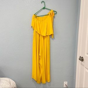 Bebe Yellow One Shoulder Jumpsuit